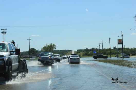 Water flooding the highway